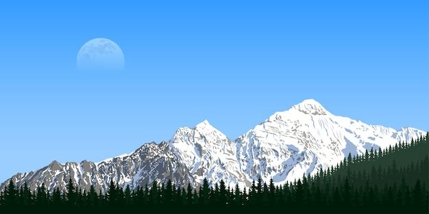 Immagine di una catena montuosa con silhouette di foresta e luna sullo sfondo, viaggi, turismo, escursionismo e concetto di trekking