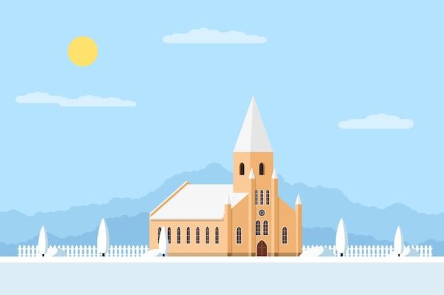 Immagine di una chiesa cattolica romana con recinzione e alberi, paesaggio estivo,