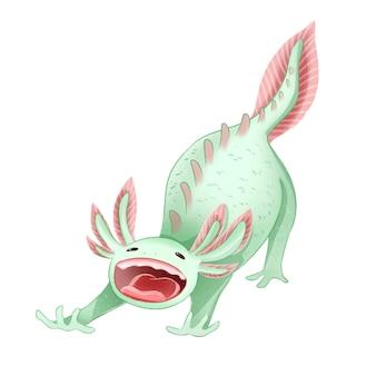 Immagine isolata messicano sveglio di axolotl ambystoma. axolotl sbadigliante