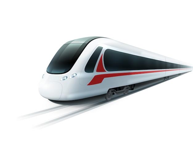 Immagine isolata realistica del treno ad alta velocità
