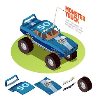 Immagine isometrica del modello 4wd dell'automobile del mostro