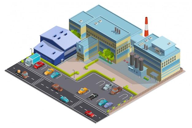 Immagine isometrica della composizione di fabbrica