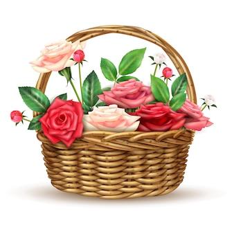 Immagine realistica del cestino di vimini dei fiori delle rose