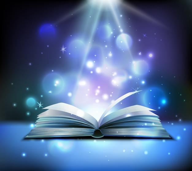 Immagine realistica del libro magico aperto con raggi di luce scintillanti luminosi che illuminano le pagine galleggianti palle scure