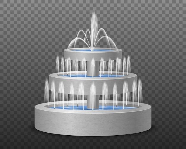 Immagine realistica della fontana decorativa di stile moderno all'aperto a tre livelli del giardino contro l'illustrazione trasparente scura