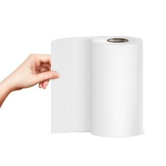Immagine realistica della mano dell'asciugamano di carta