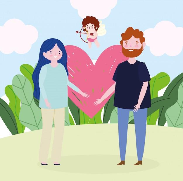 Immagine romantica del fumetto di amore del cuore delle giovani coppie