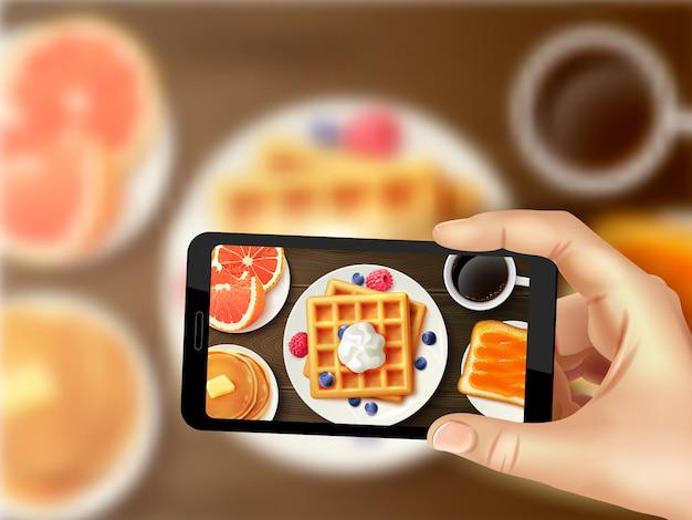 Immagine superiore realistica della foto dello smartphone della prima colazione