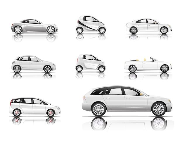 Immagine tridimensionale dell'automobile isolata su fondo bianco