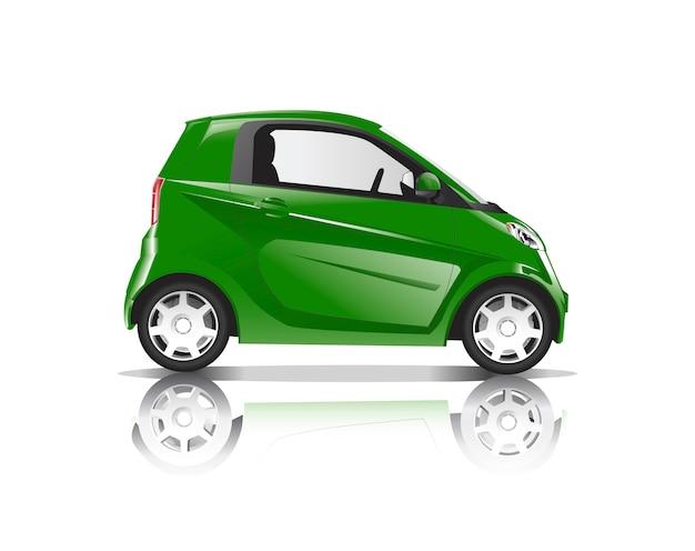Immagine tridimensionale dell'automobile verde isolata su fondo bianco