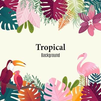 Immagine tropicale di vettore degli uccelli delle foglie di palma del fondo di estate.
