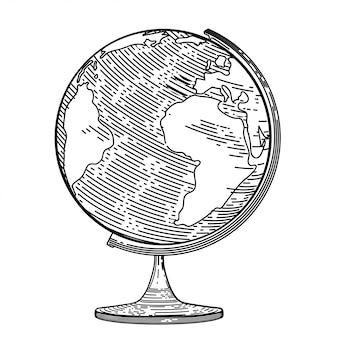 Immagine vettoriale del globo nello stile dell'incisione.