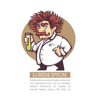 Immagine vettoriale del personaggio di scienziato del fumetto