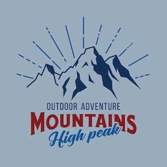 Immagine vettoriale di montagna e avventure all'aria aperta