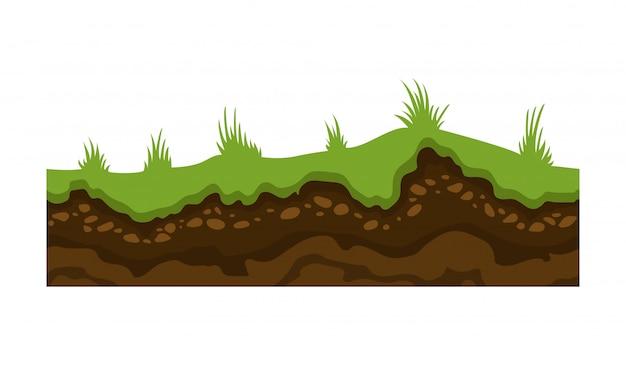 Immagine vettoriale di terra, suolo e terra senza soluzione di continuità per i giochi dell'interfaccia utente. superficie di terra, illustrazione di pietra dell'erba.