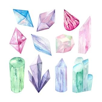Immagine vettoriale di un set di cristalli.