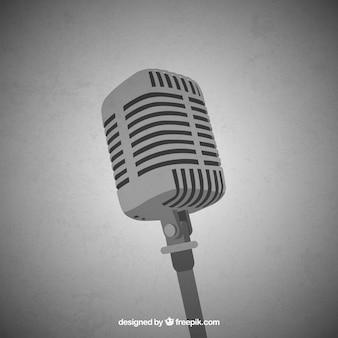 Immagine vettoriale in bianco e nero del microfono