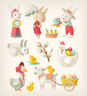 Immagini colorate di personaggi pasquali e animali per le vacanze di primavera. illustrazioni