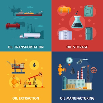 Immagini di concetto di produzione di petrolio. esplorazione del carburante