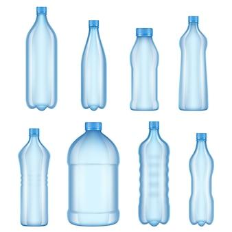 Immagini di vari tipi di bottiglie trasparenti