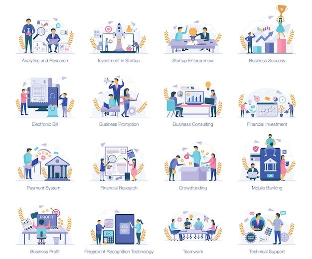 Immagini vettoriali concettuali piatte