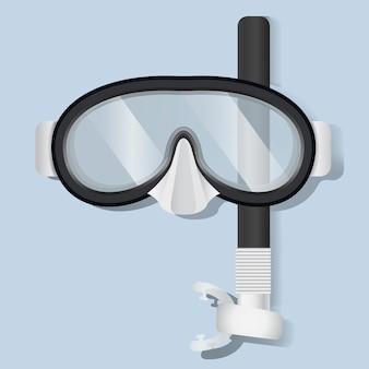 Immergersi l'illustrazione di vettore dell'attrezzatura di immersione subacquea della maschera dello scuba