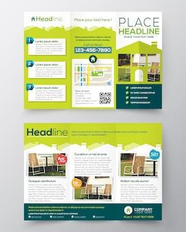 Immobiliare brochure flyer disegno vettoriale modello tri volte