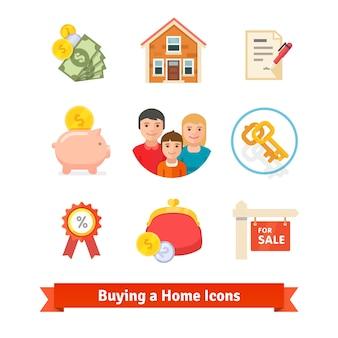 Immobiliare, mutuo casa, prestito, icone di acquisto