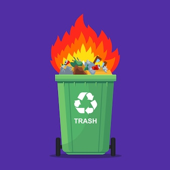 Immondizia che brucia in un cestino