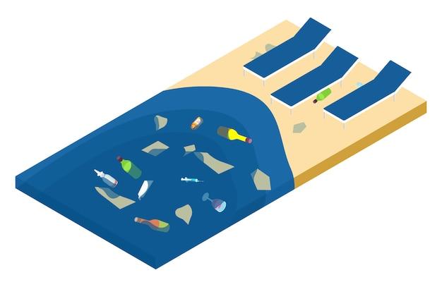 Immondizia nel mare e sulla spiaggia, concetto isometrico di inquinamento dell'oceano