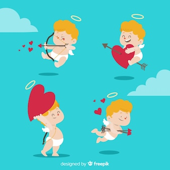 Impacco di angelo di san valentino disegnato a mano