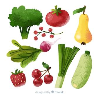 Impacco di frutta e verdura in acquerello