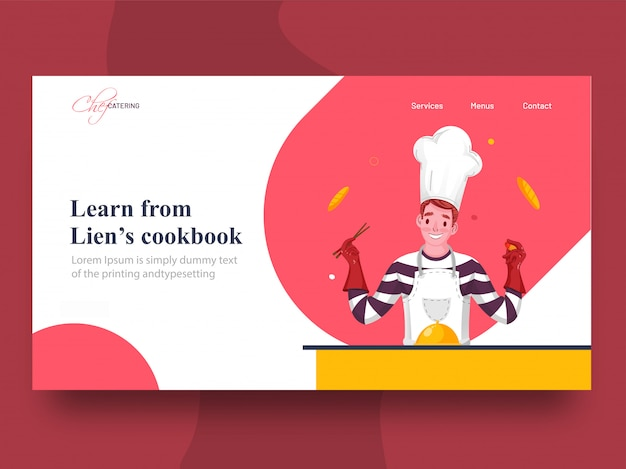 Impara dalla pagina di destinazione del libro di cucina di lien con il personaggio dello chef che presenta la cloche sul tavolo.
