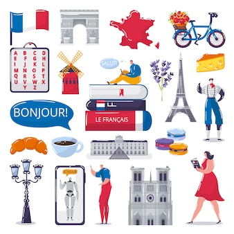 Impara le illustrazioni in lingua straniera francese impostate per la scuola di lingue.