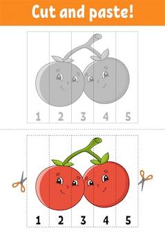 Imparare i numeri, tagliare e incollare. personaggio dei cartoni animati.