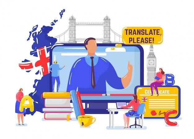 Imparare l'inglese online, le persone minuscole degli studenti del fumetto imparano l'inglese sul corso a distanza, l'istruzione su bianco