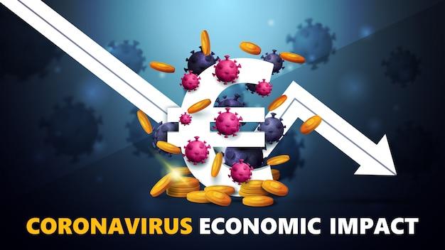 Impatto economico del coronavirus, banner con segno tridimensionale di euro bianco con monete d'oro intorno, circondato da molecole di coronavirus e freccia bianca un grafico economico in calo