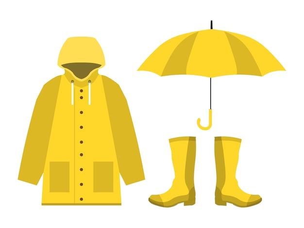 Impermeabile, stivali di gomma, ombrello aperto, set di stagione delle piogge in piano