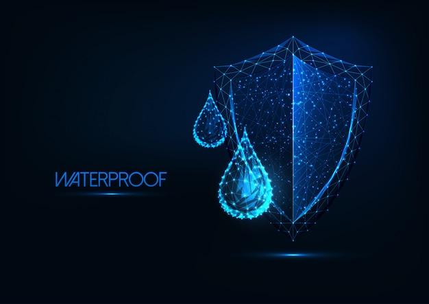 Impermeabilizzazione futuristica. gocce di acqua poli basso incandescente e scudo su sfondo blu scuro.