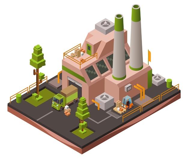 Impianto di fabbrica isometrico 3d o mappa zona industriale con carrelli elevatori a forche