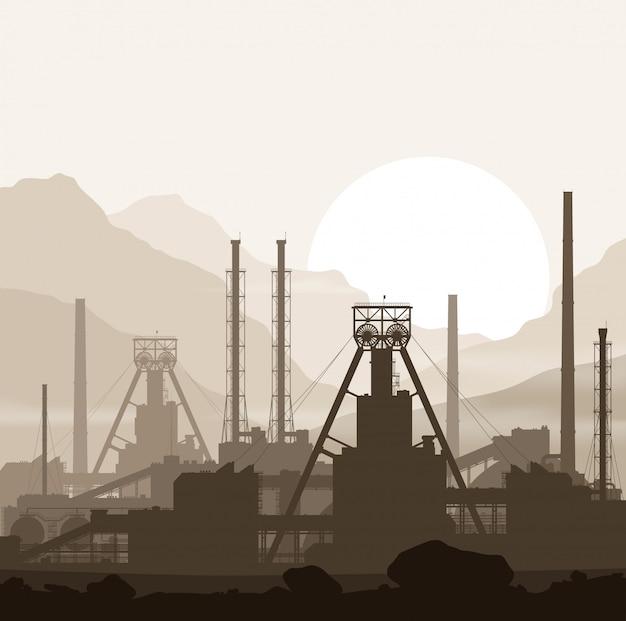 Impianto di fertilizzanti minerali oltre il tramonto nelle montagne
