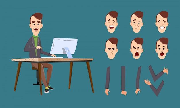 Impiegato che lavora al computer. testa e mano personalizzate dell'operatore impostate per l'animazione del personaggio.