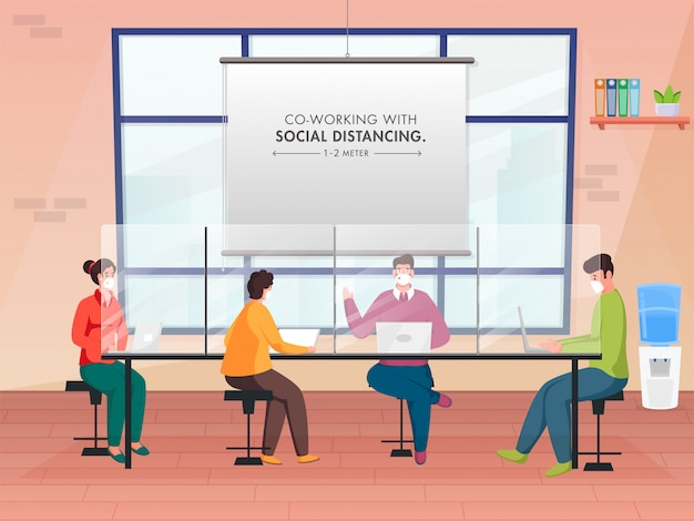 Impiegato che mantiene la distanza sociale durante il lavoro insieme sul posto di lavoro per evitare il coronavirus.