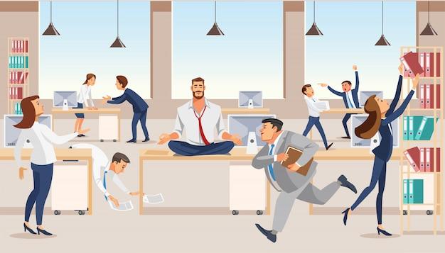 Impiegato che medita nel vettore del posto di lavoro