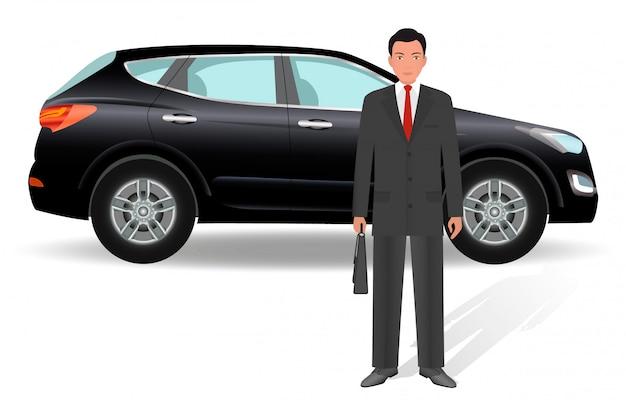 Impiegato dell'uomo dell'ufficio con l'auto su una priorità bassa bianca.