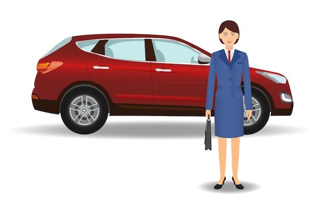 Impiegato di donna dell'ufficio con l'auto su bianco