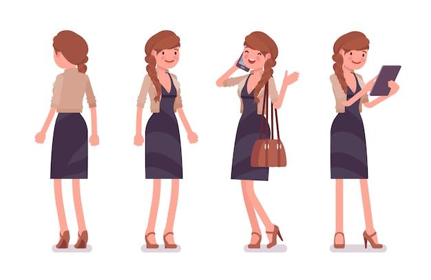 Impiegato di ufficio femminile grazioso che sta, che parla con telefono, funzionante con la compressa. concetto di moda casual donna d'affari. stile cartoon illustrazione, sfondo bianco, anteriore, posteriore