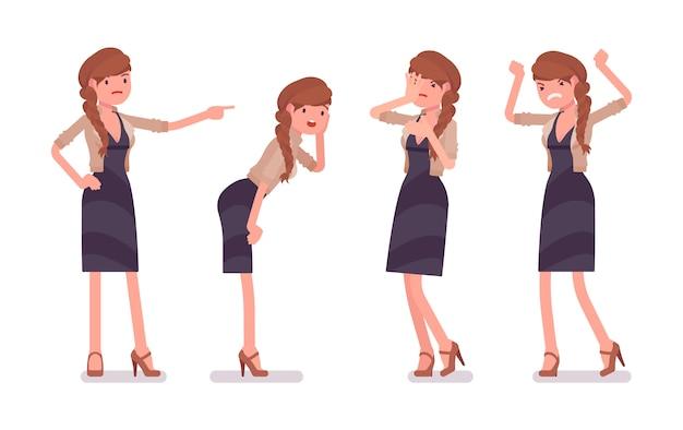 Impiegato di ufficio femminile grazioso, sentimento delle emozioni negative, odio il suo lavoro, stanco del lavoro, arrabbiato. concetto di moda casual donna d'affari. stile cartoon illustrazione, sfondo bianco