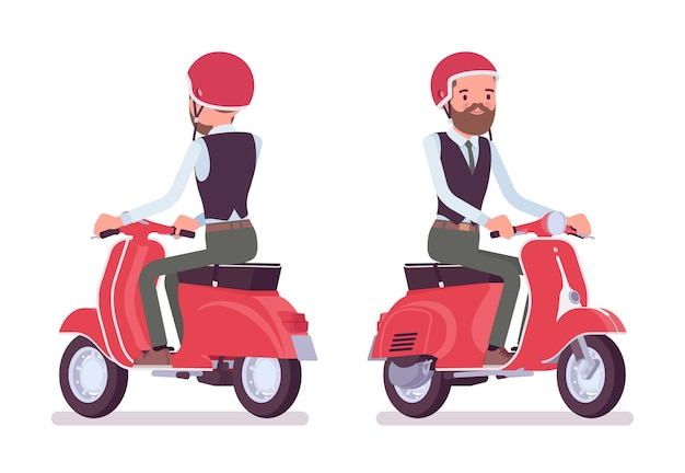 Impiegato di ufficio maschio bello che guida un veicolo a motore rosso a due ruote leggero. concetto di moda uomo d'affari casual. stile cartoon illustrazione, sfondo bianco, frontale, vista posteriore