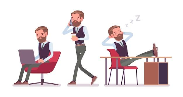 Impiegato di ufficio maschio bello seduto alla scrivania, lavorando con laptop e telefono. concetto di moda uomo d'affari casual. stile cartoon illustrazione, sfondo bianco, frontale, vista posteriore
